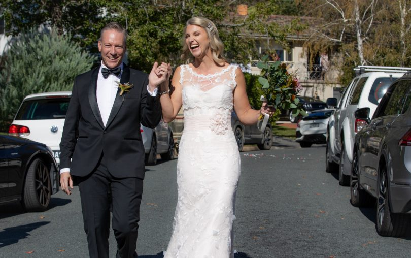 Walking down the aisle, Doug Boyd and Dimity Douglas, after their wedding.
