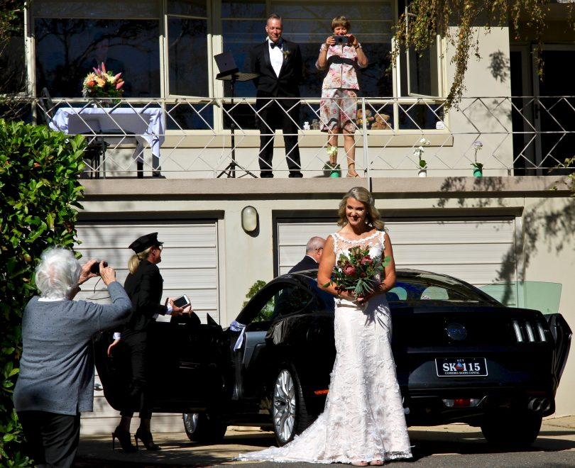 Bride and groom during wedding ceremony in Canberra