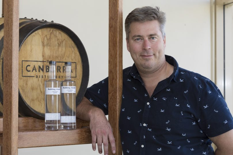 Tim Reardon of The Canberra Distillery with his rubbing alcohol.